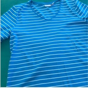 Chico's size 2 cotton t shirt turquoise stripe